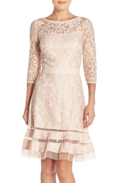Lace Overlay Mother of the Bride Dress