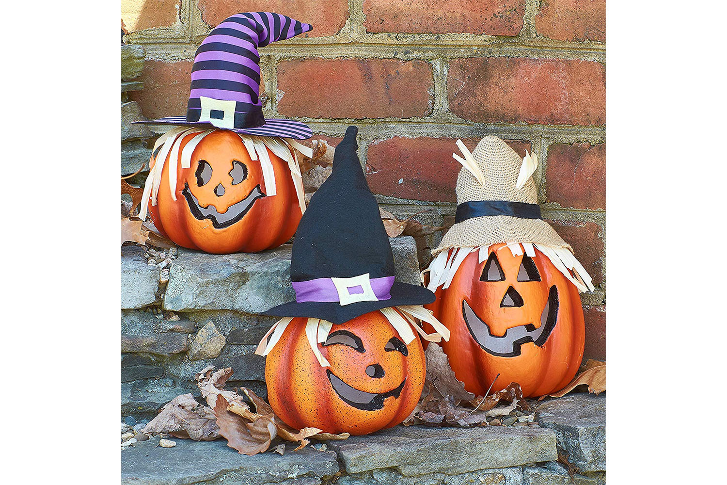 Light-Up Foam Jack-o'-Lanterns, Set of 3