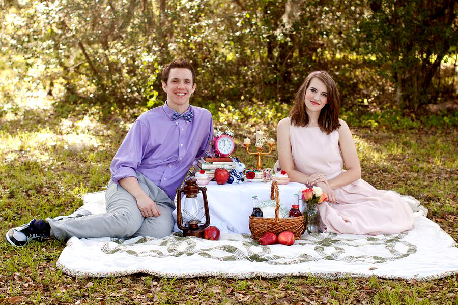 Engagment Photo on a Blanket with Disney Characters