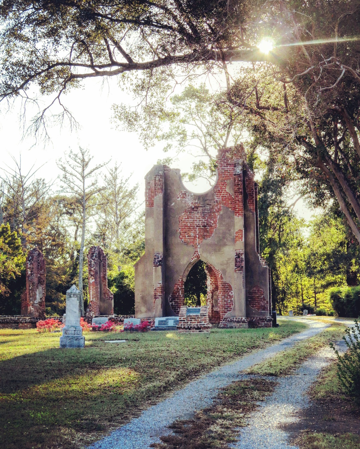 Evergreen Cemetery and the Ruins of St. John's Church