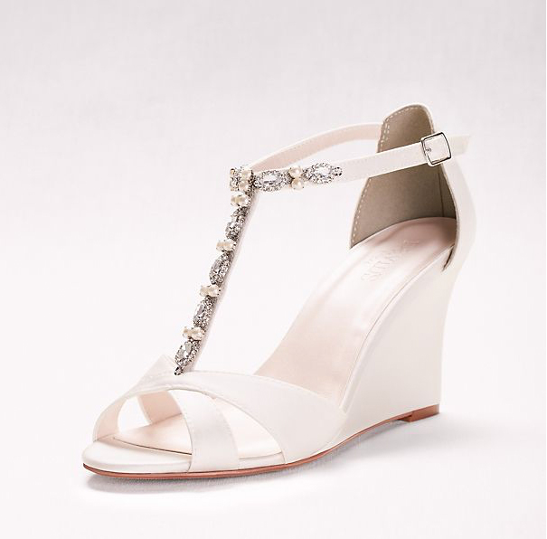 Pearl and Crystal Strap Wedges
