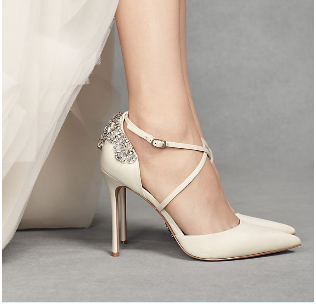 Pointed-Toe Cross-Strap Heels with Crystal Back