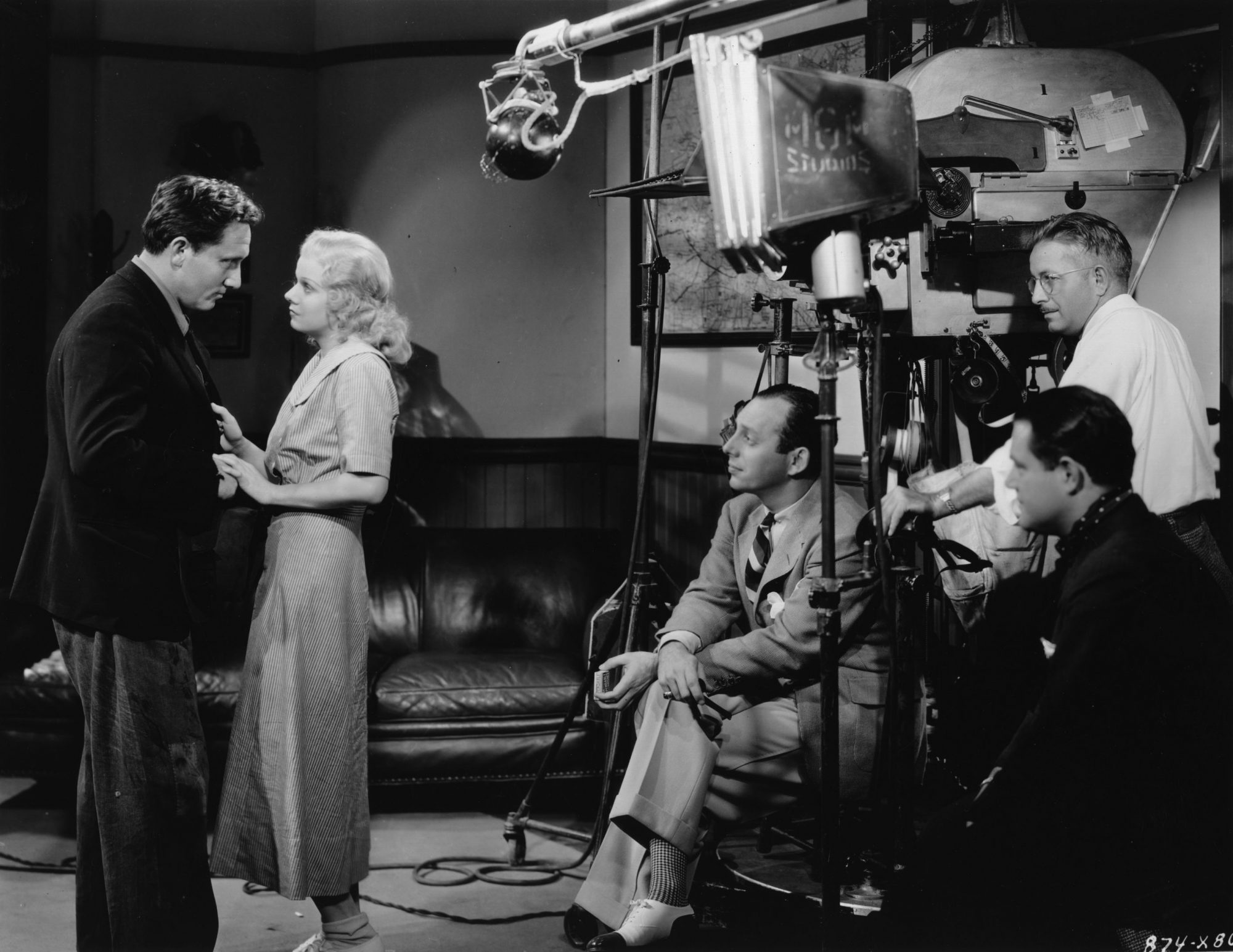 making a scene in the film 'Riff Raff' for MGM