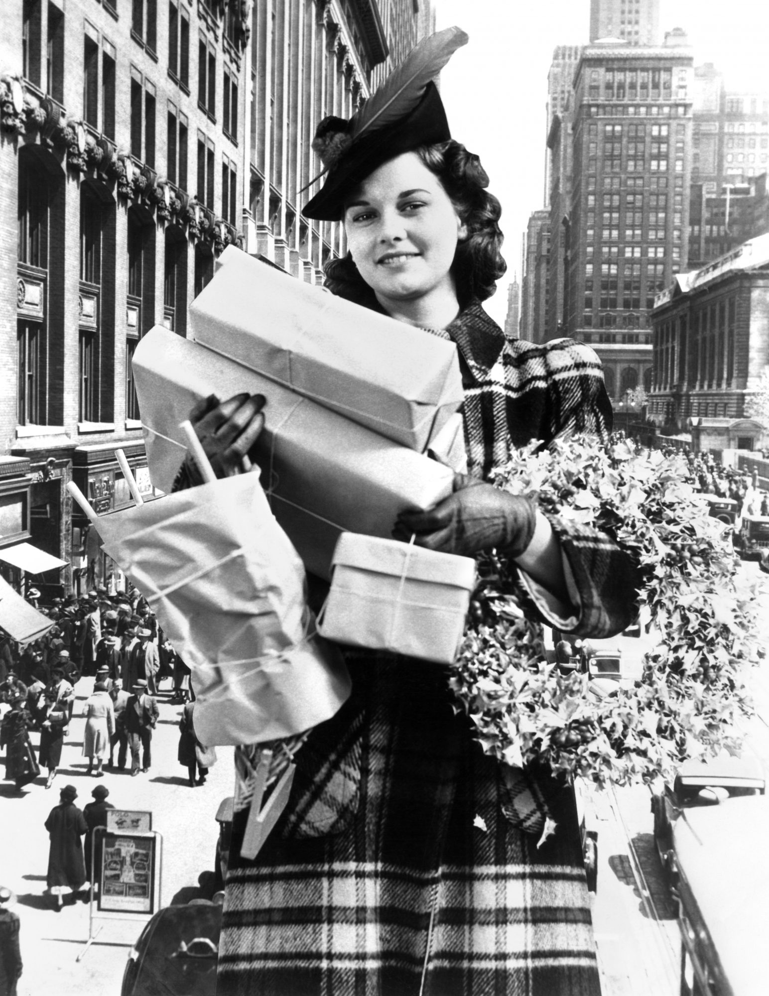 Woman carrying packages