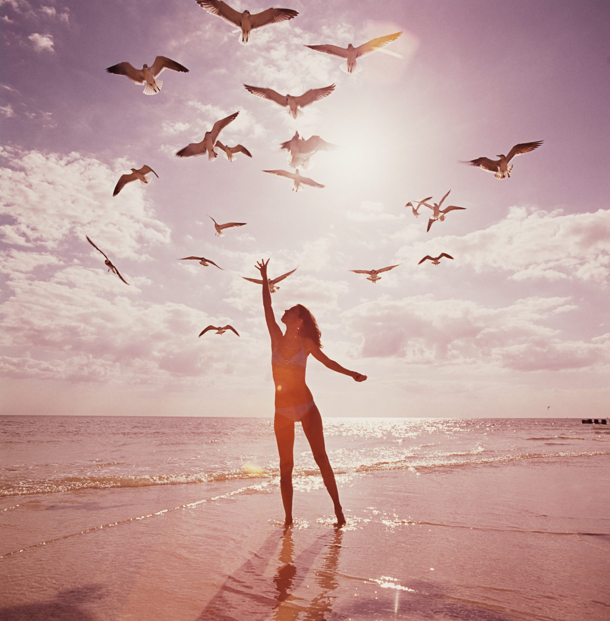 Woman on beach reaching for seagulls