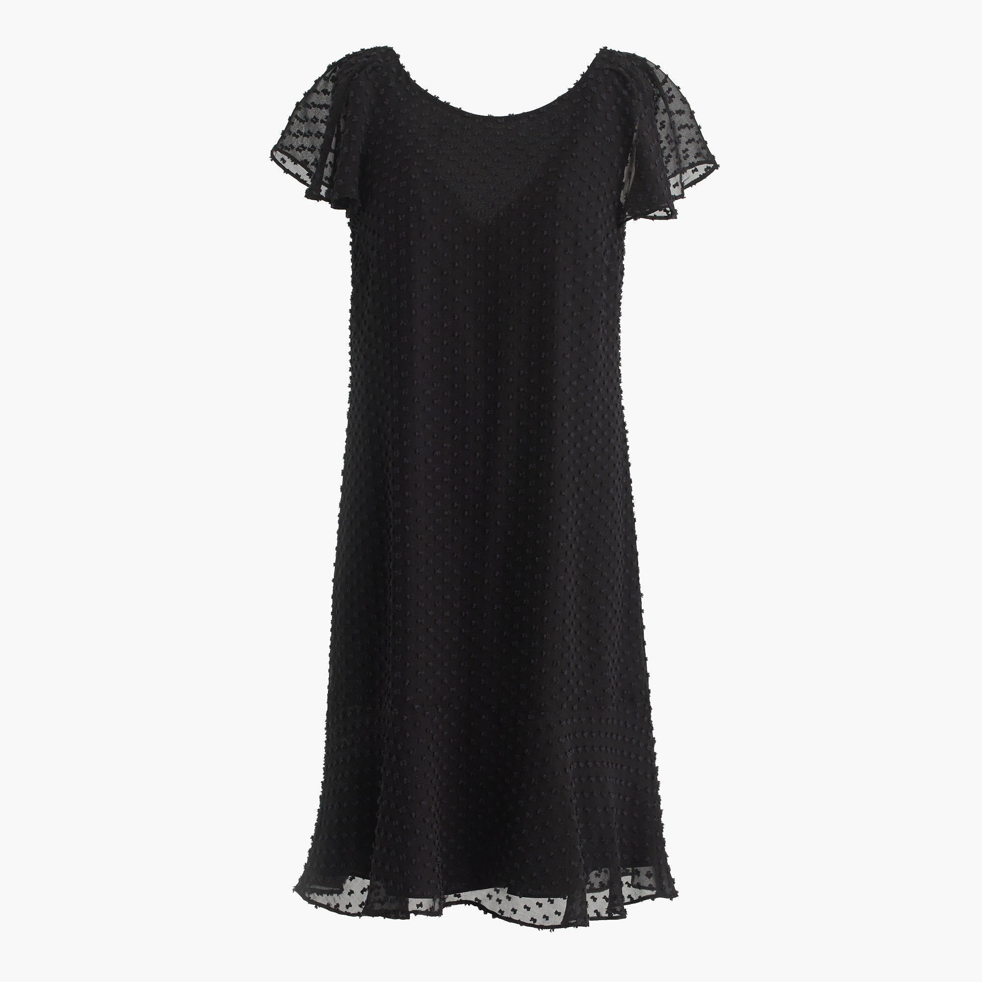 Ruffled Dress in Textured Clip-Dot