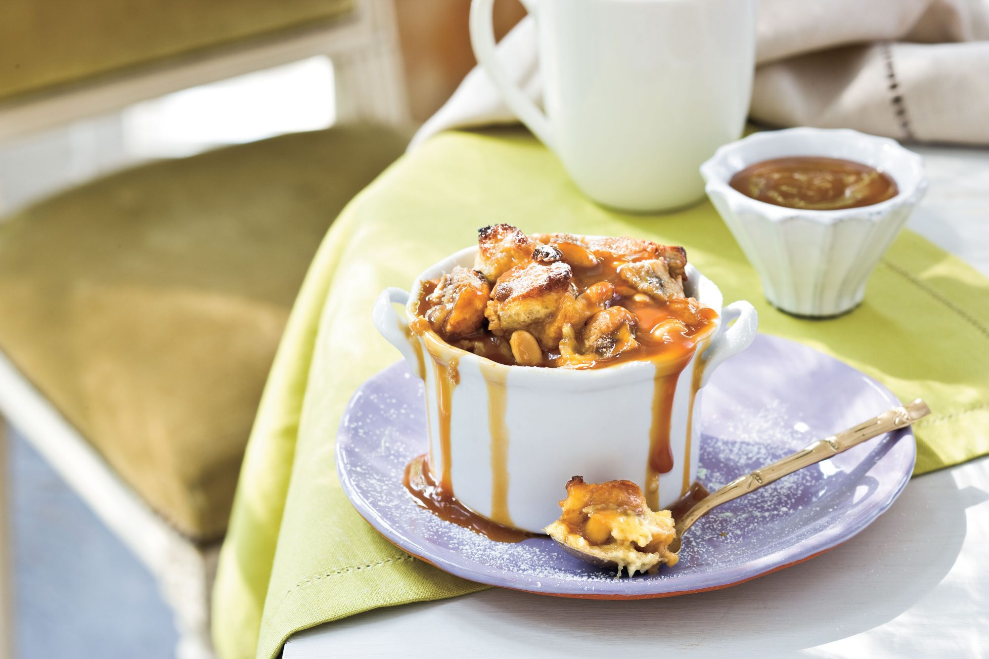Peanut Butter-Banana Sandwich Bread Pudding with Dark Caramel Sauce