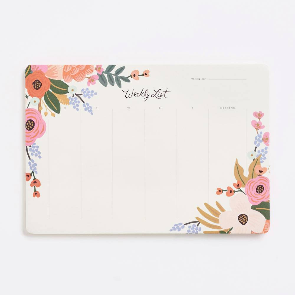 Floral Lively Weekly Desk Notepad