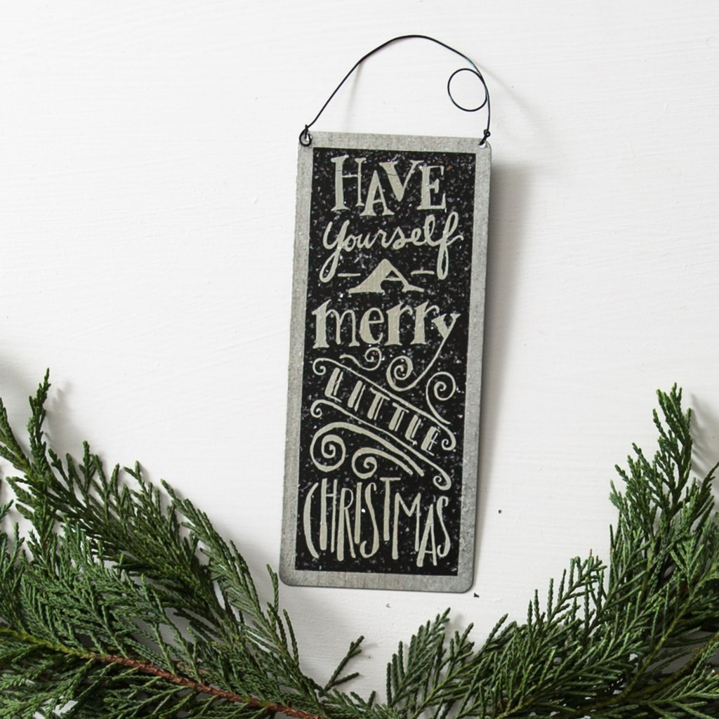 "Tin ""Merry Little Christmas"" Sign"