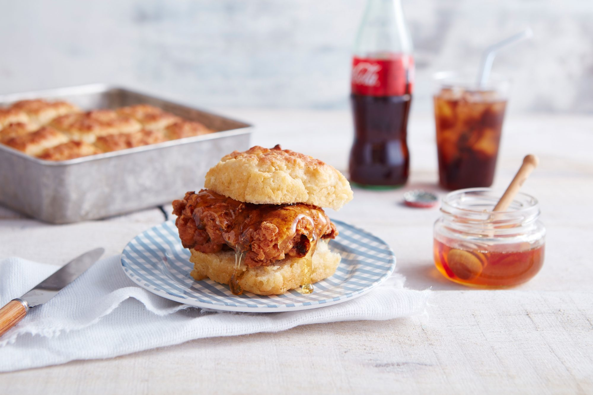 Fried Chicken Biscuits with Rosemary Hot Honey