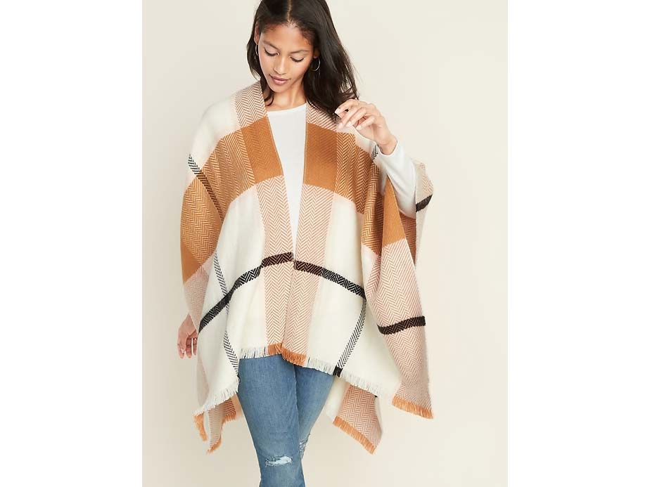 Plaid Flannel Open-Front Poncho