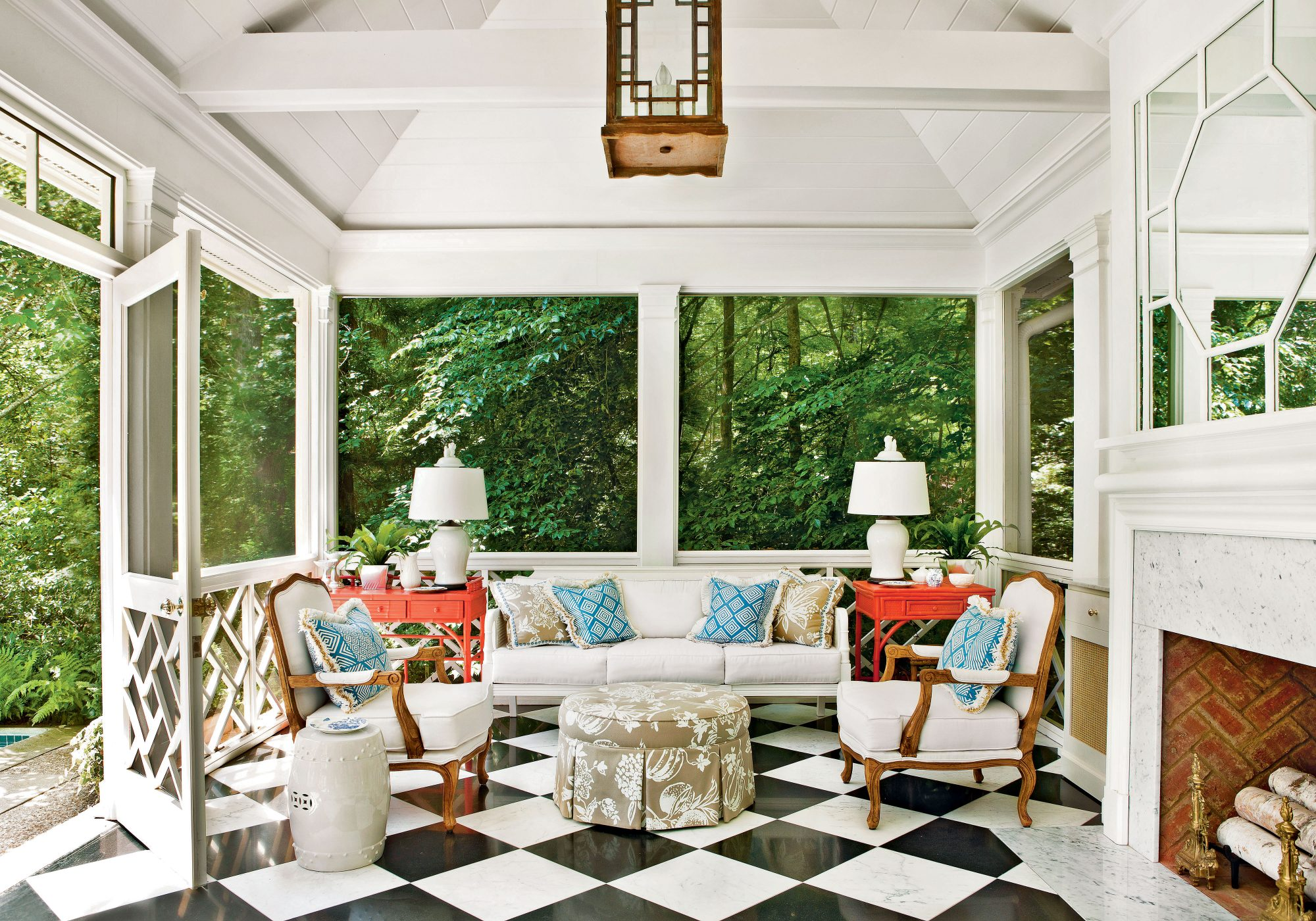 Porch with Black and White Checkered Floor