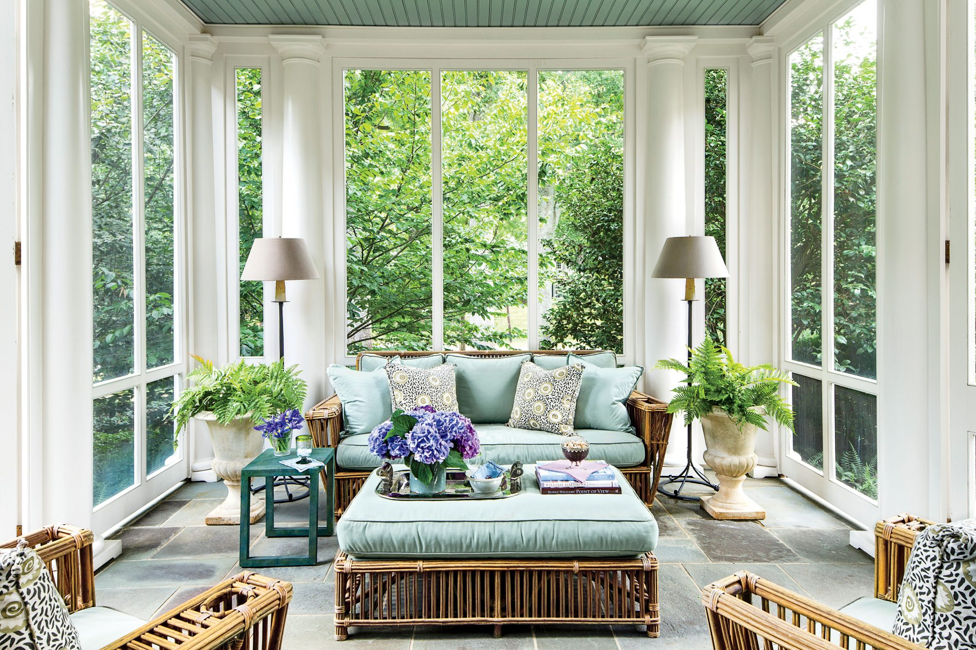 Screened Porch with Tall Windows and Columns