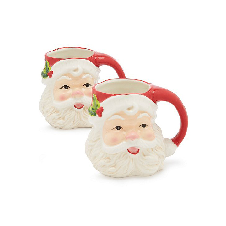 Southern Living Holiday Smiling Santa Mug Set