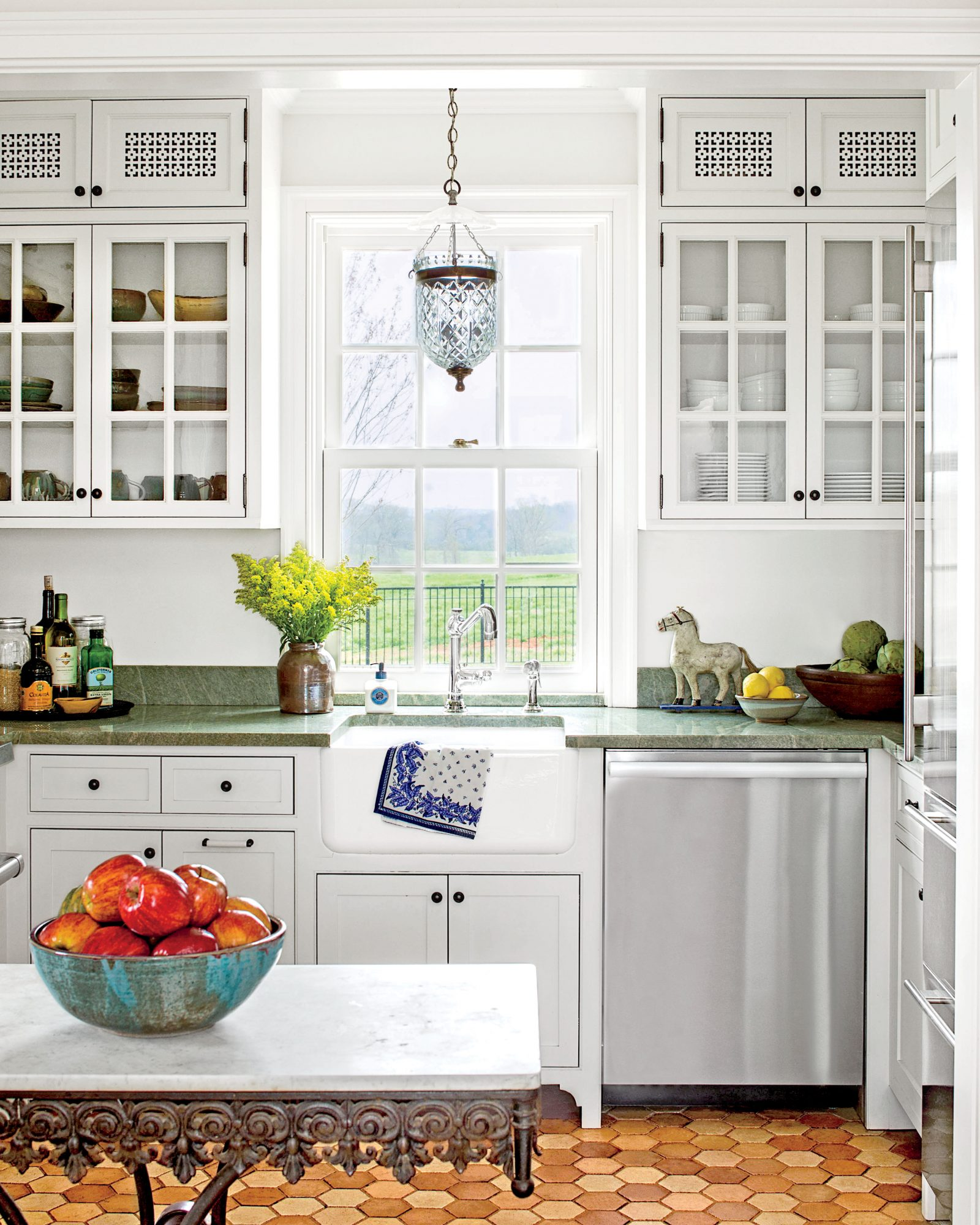 Tiny White Kitchen with Green Countertops