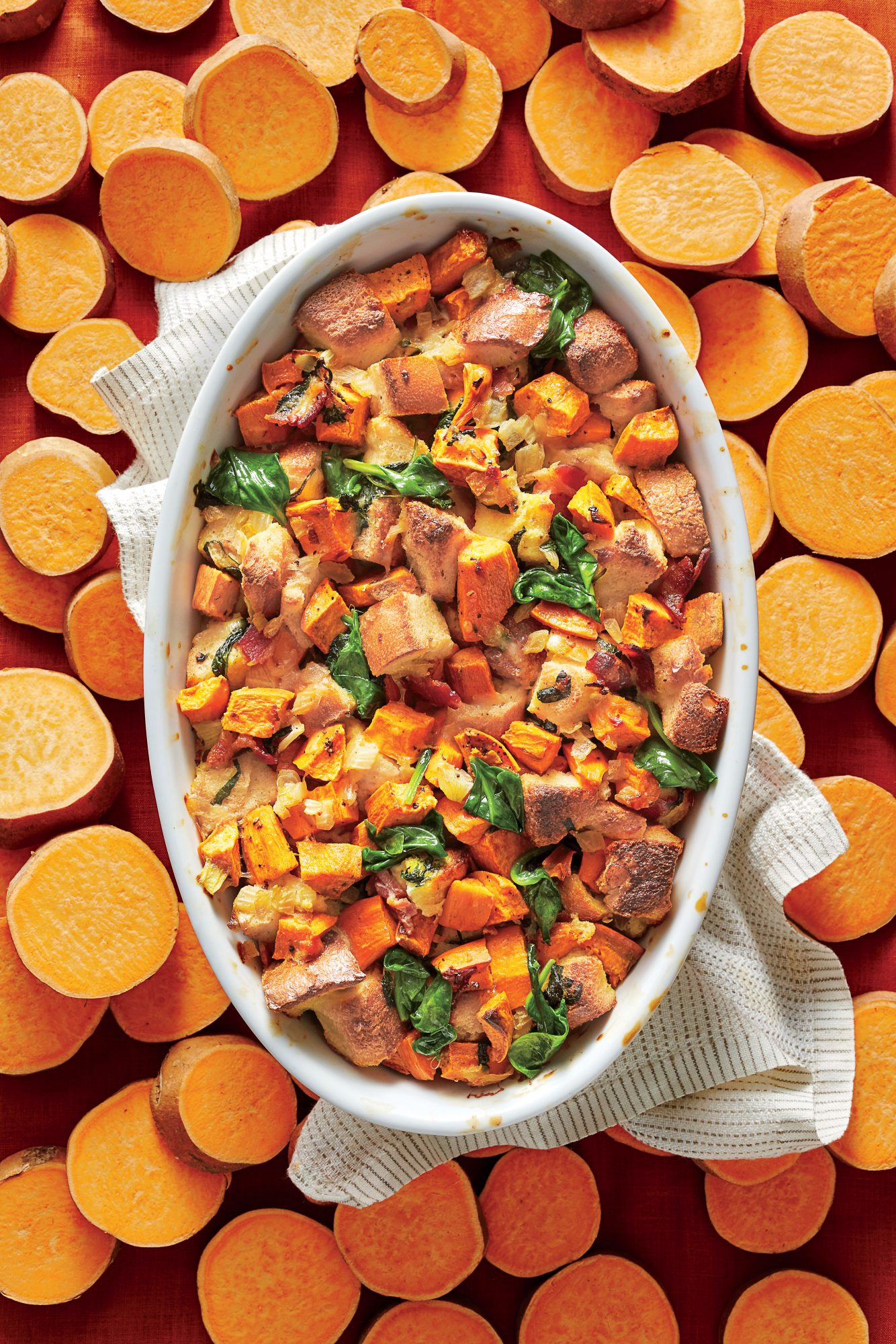 Savory Sweet Potato Bread Pudding