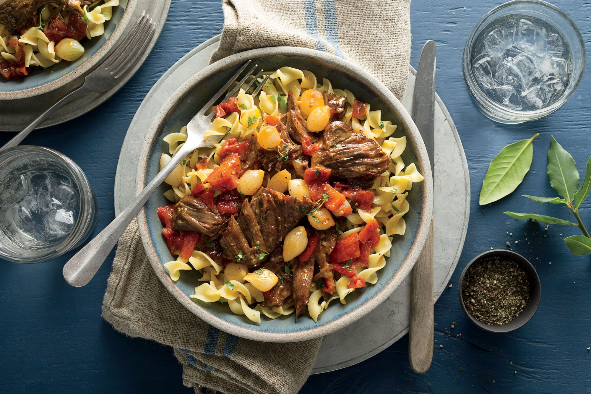 Sweet-and-Spicy Short Ribs with Egg Noodles Recipe