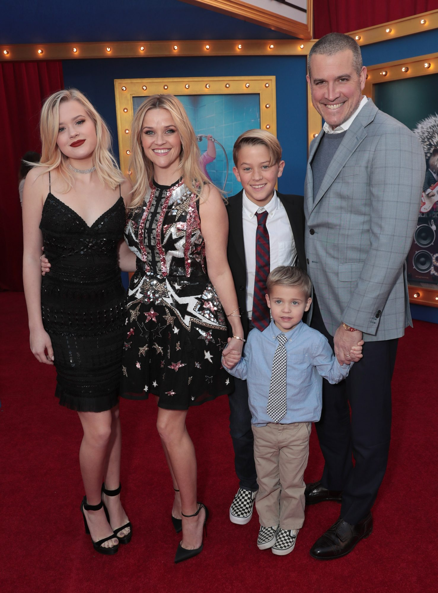 Ava Phillippe, Reese Witherspoon, Deacon Phillippe, Tennessee James Toth and Jim Toth attend the premiere Of Universal Pictures' 'Sing' on December 3, 2016 in Los Angeles, California.
