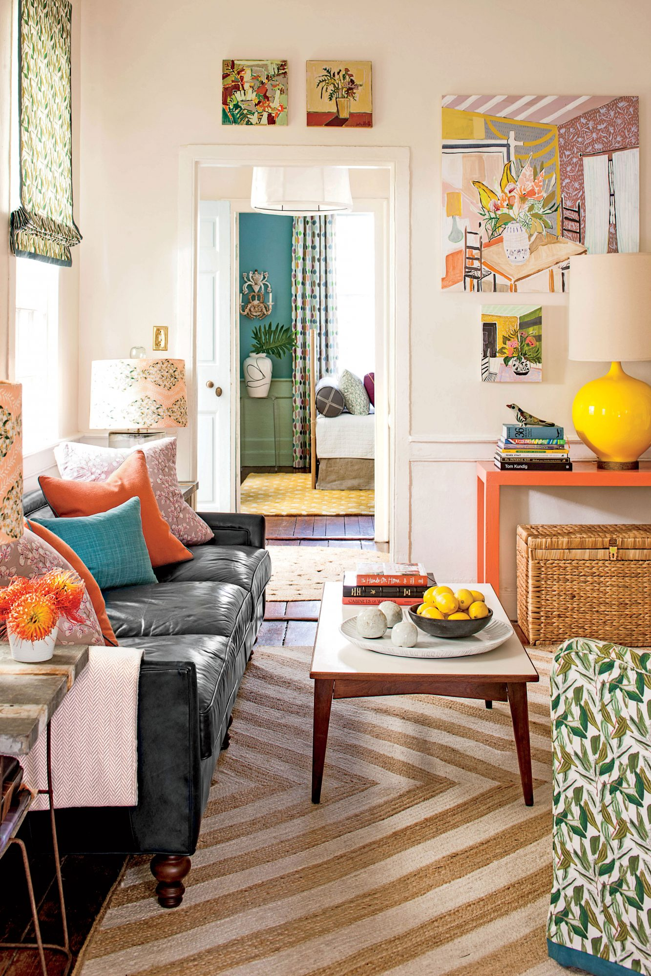 A Charleston Single House: A Colorful Living Room