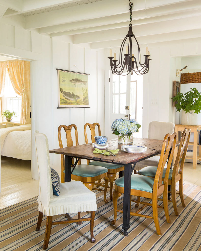 Wood Dining Room Chairs with Aqua Blue Vinyl