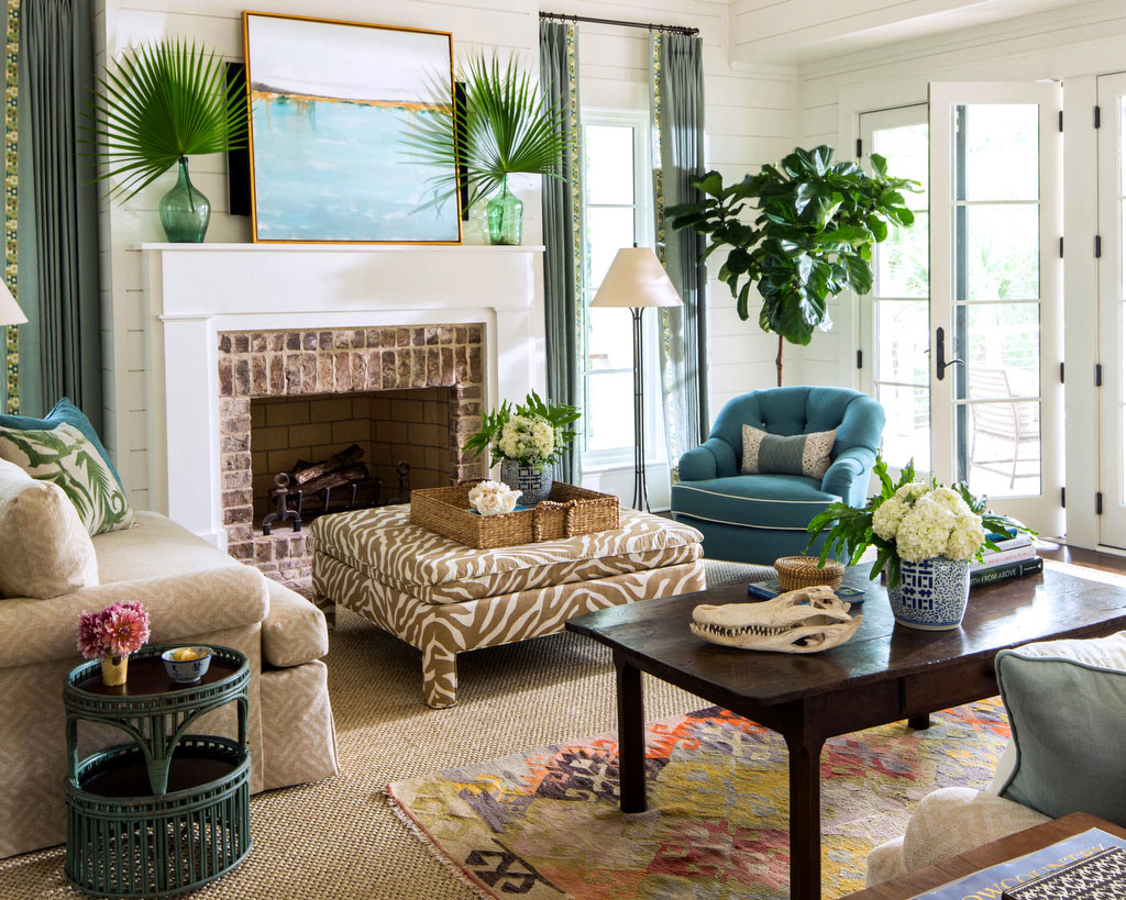 Living Room with Sisal Rug and Palm Leaves