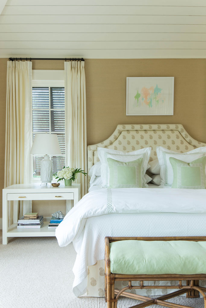 White and Green Bedroom with Bamboo Bench
