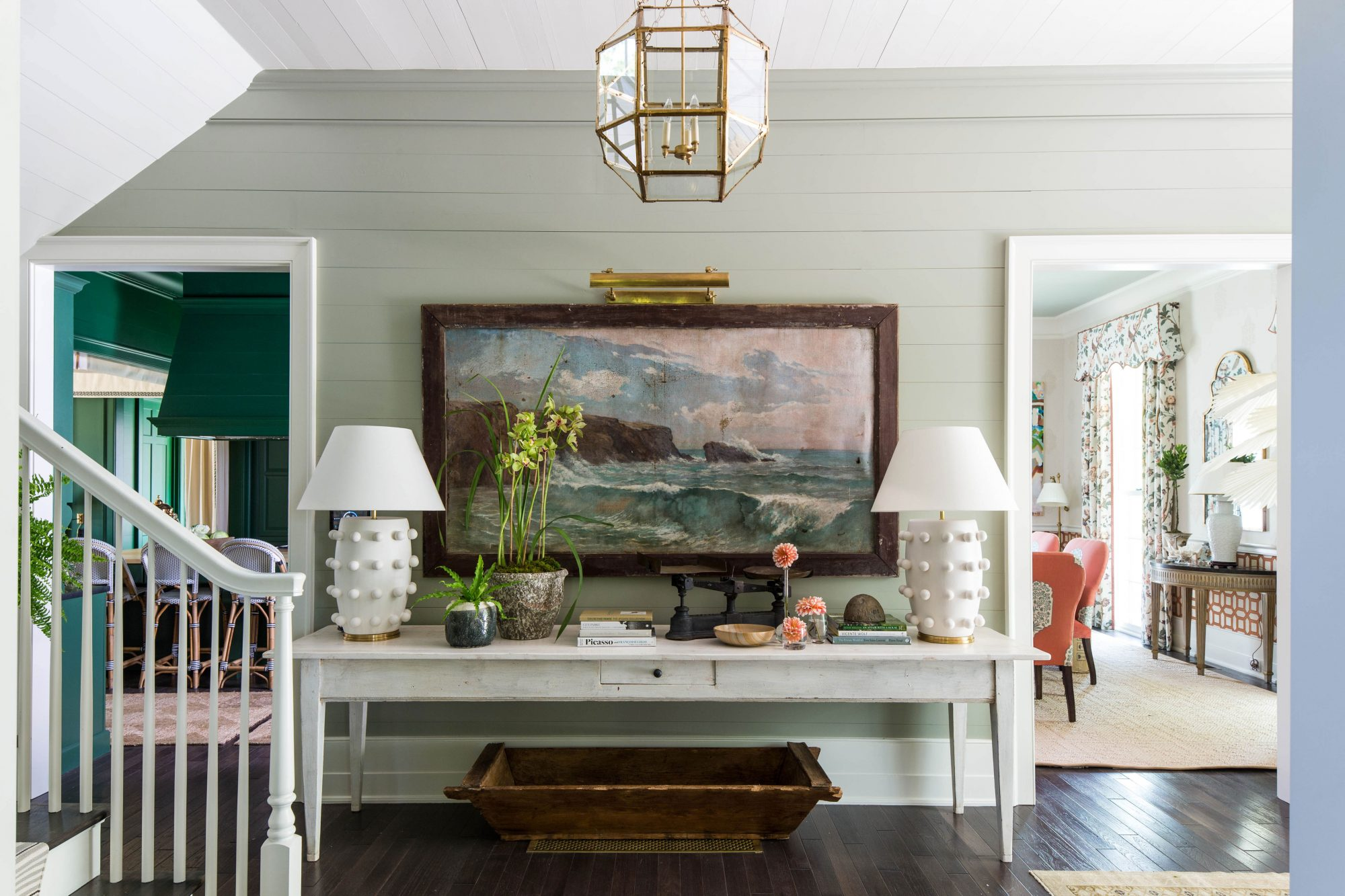 Neutral Foyer with Long Antique Table