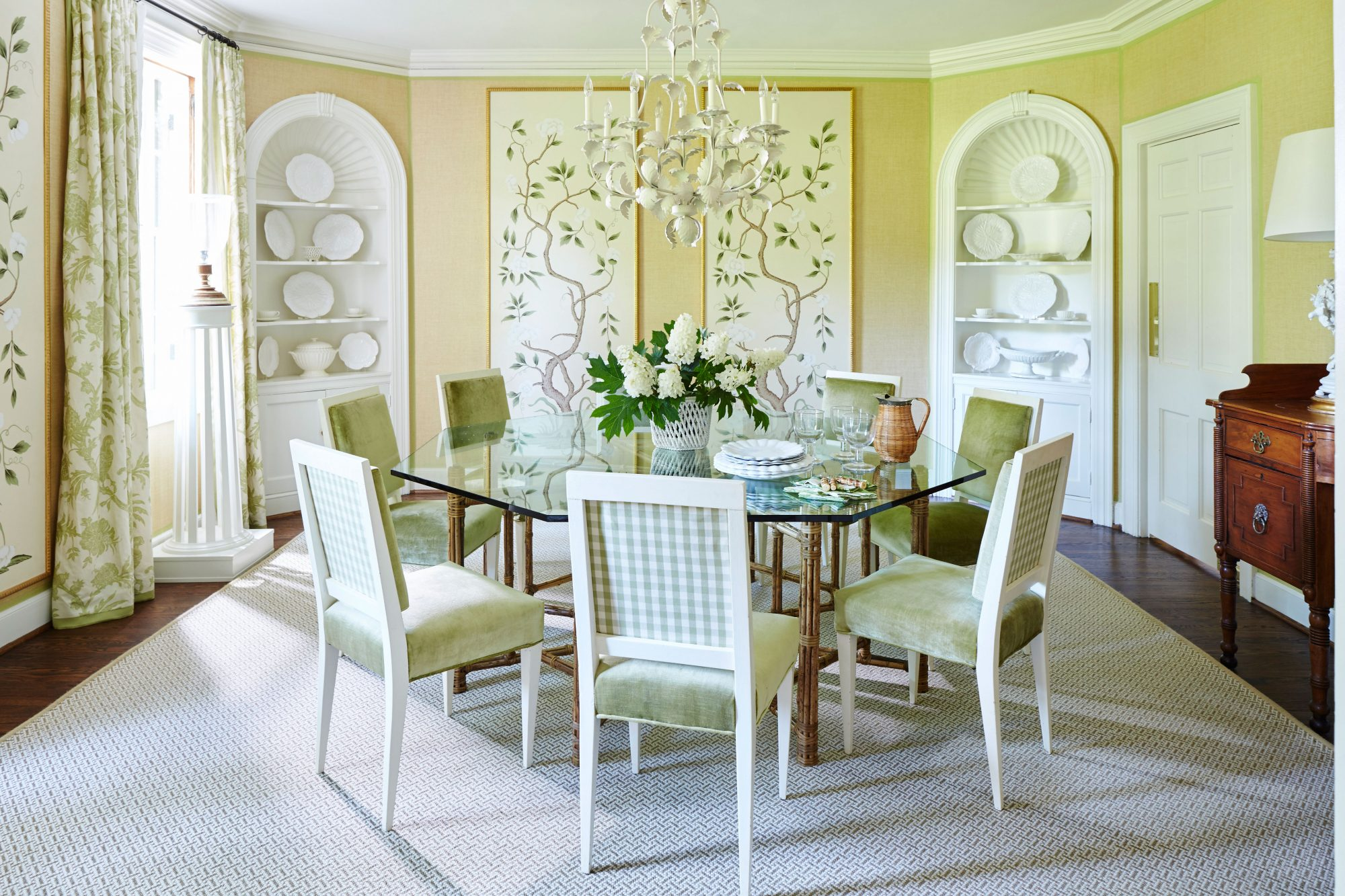 Green and White Formal Dining Room