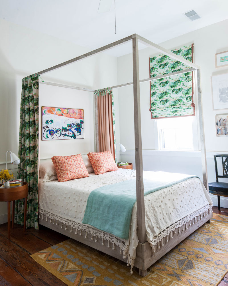 Bedroom with Wooden Bed Frame