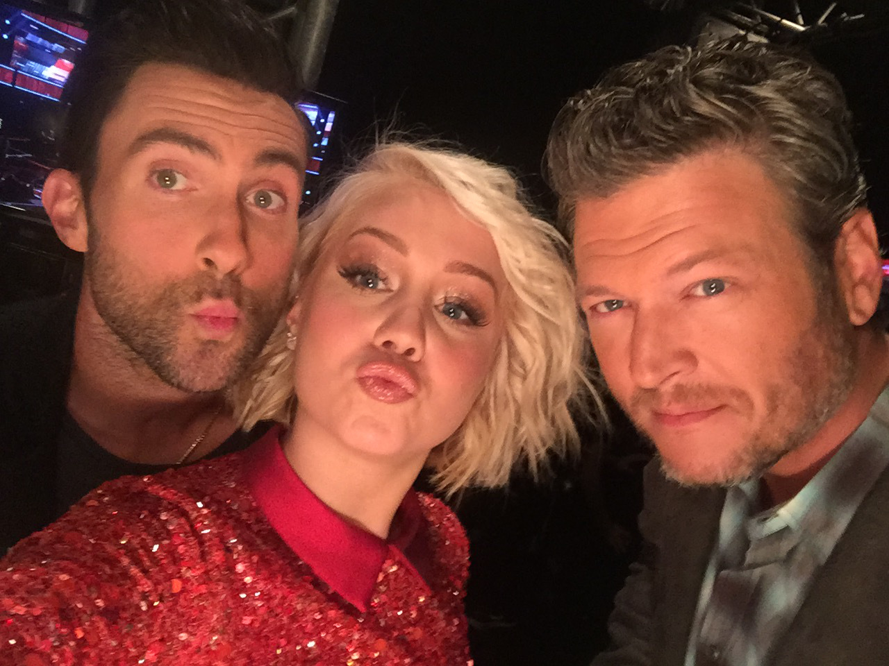 Blake Shelton, RaeLynn, and Adam Levine