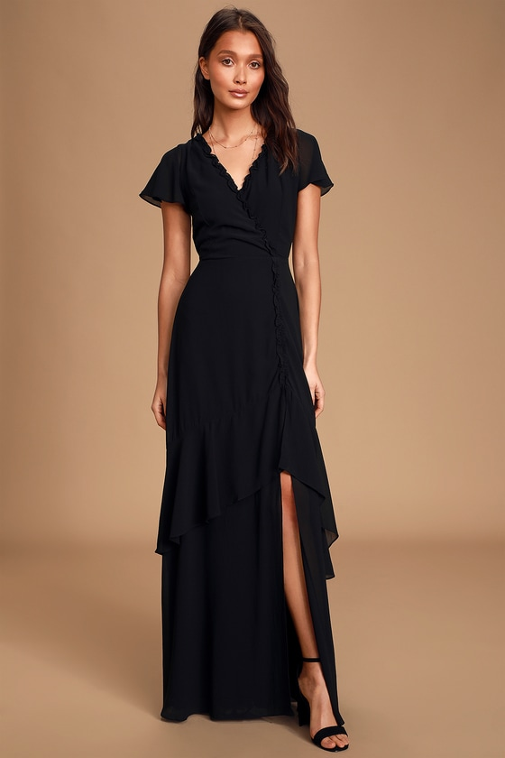 Lulus Pour the Champagne Ruffle Maxi Dress