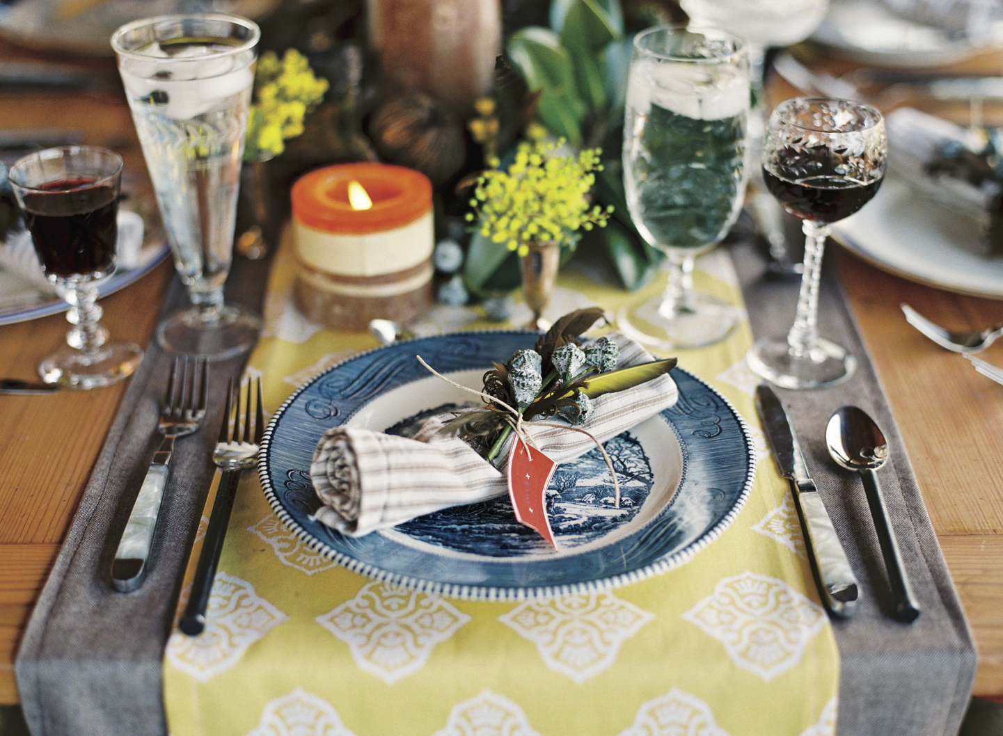 Christmas Table Setting Layered with Linen