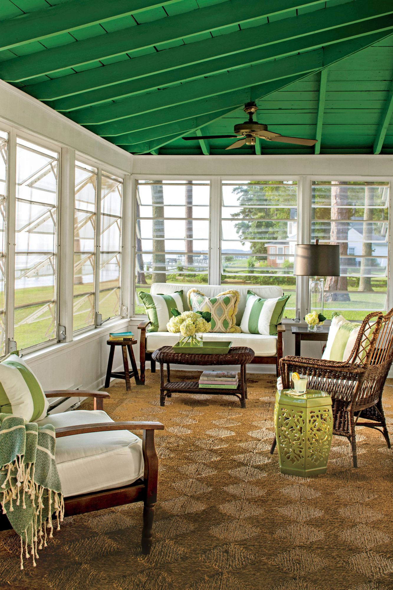 Porch with Green Ceiling