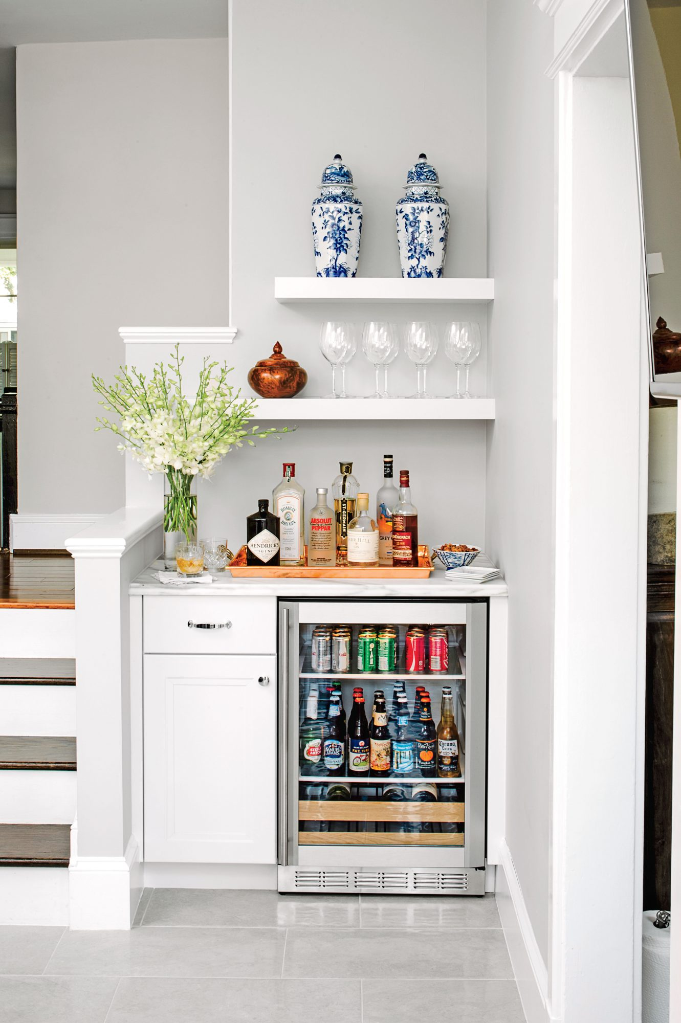 Bar Nook with Mini Fridge