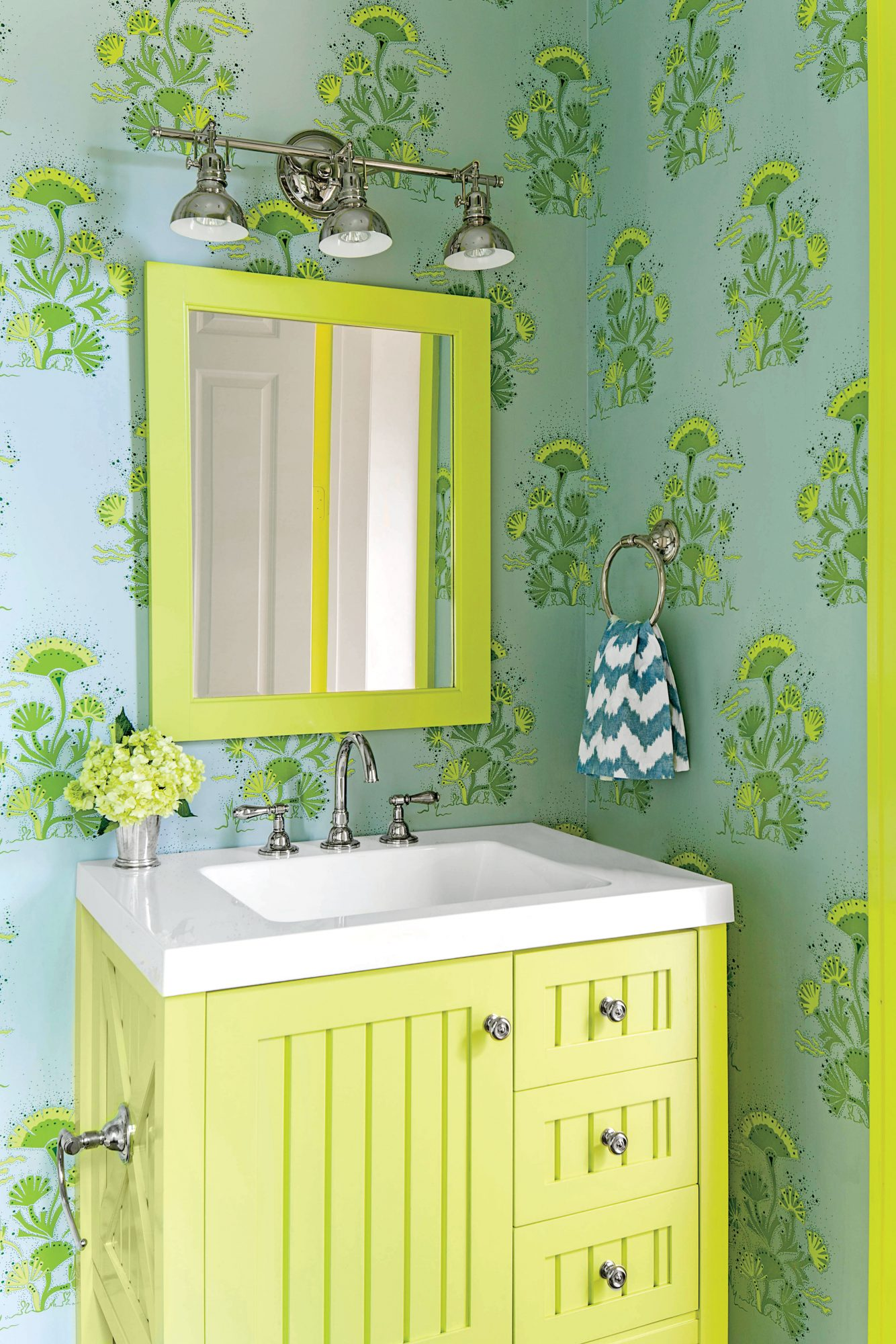 Bright Green Bathroom with Wallpaper