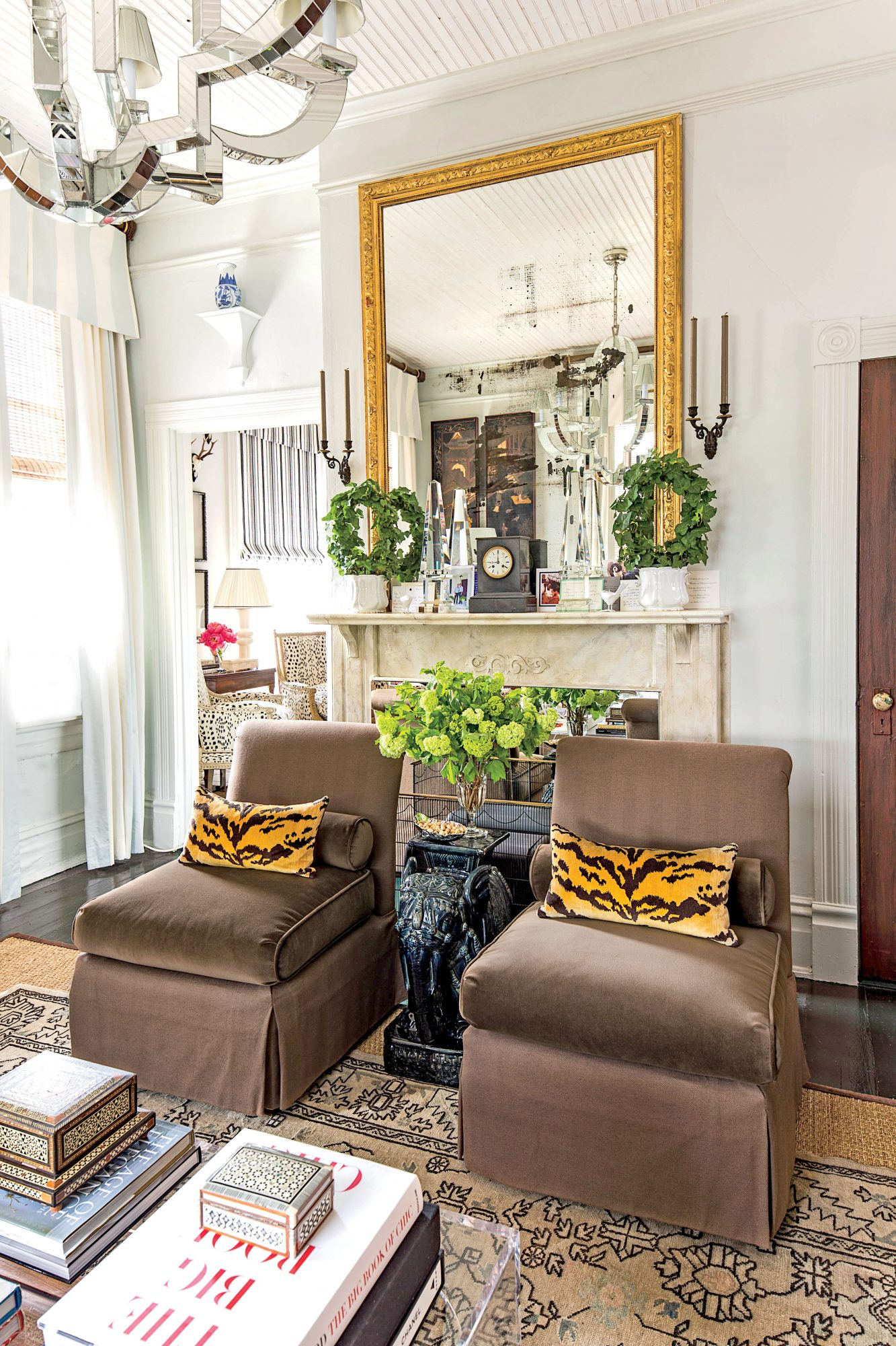 Mirror Over Fireplace with Matching Chairs