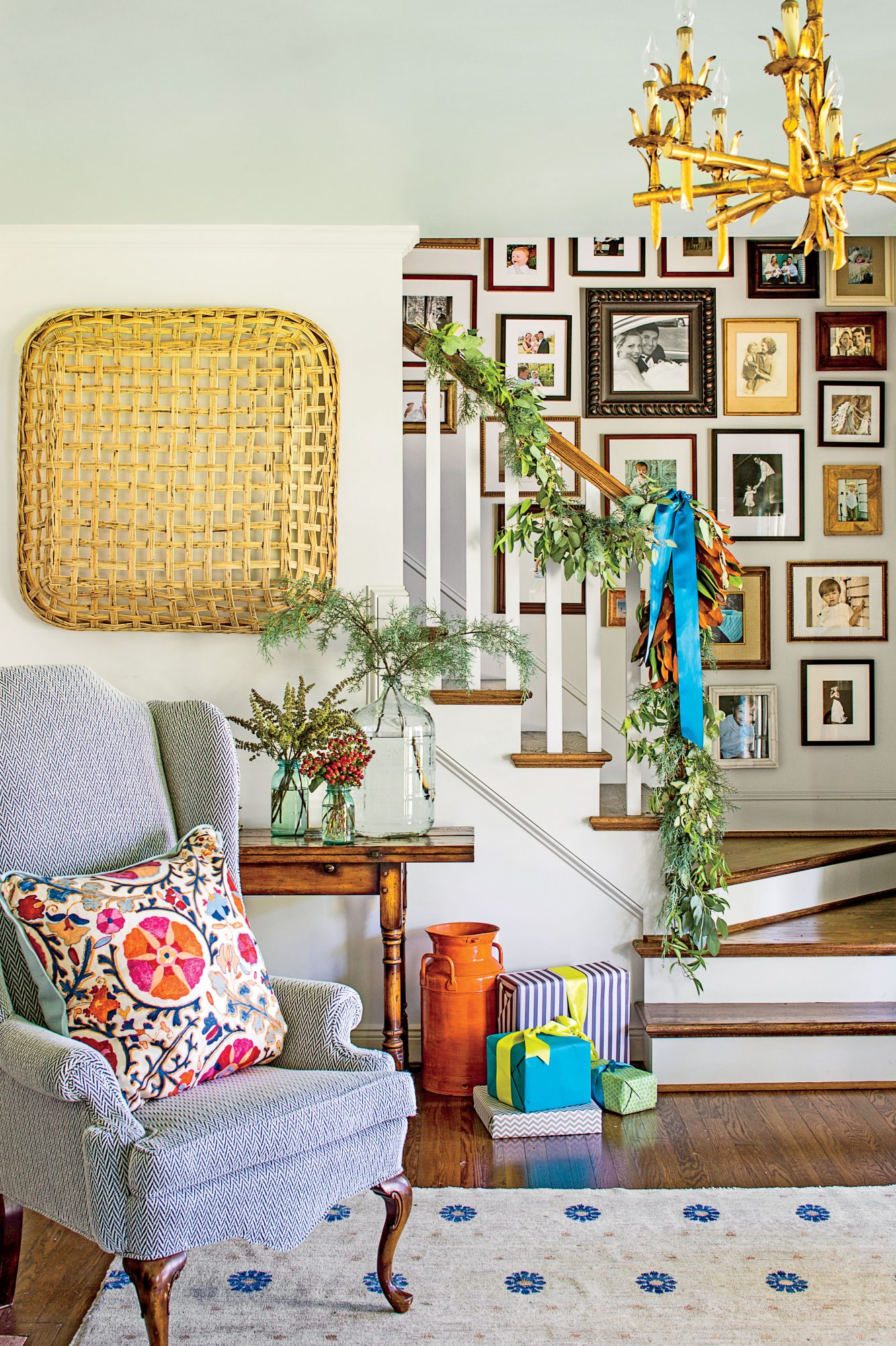 Stairway with Garland and Gallery Wall