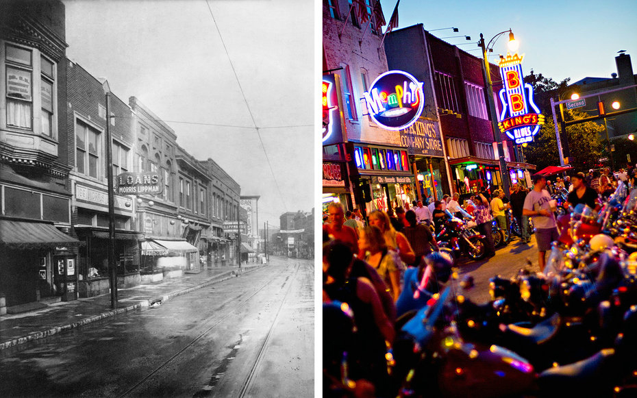 Beale Street Memphis There and Now