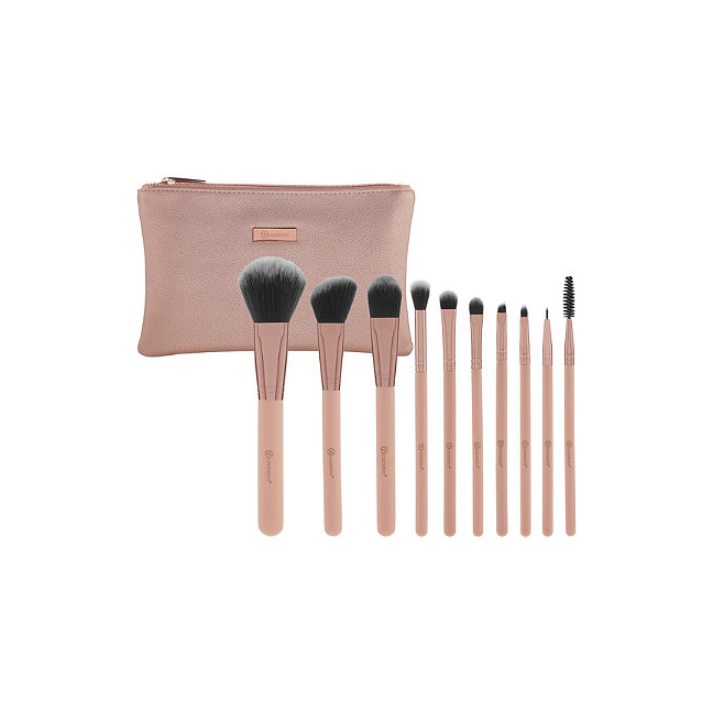 BH Cosmetics Pretty in Pink 10-Piece Brush Set with Cosmetic Bag
