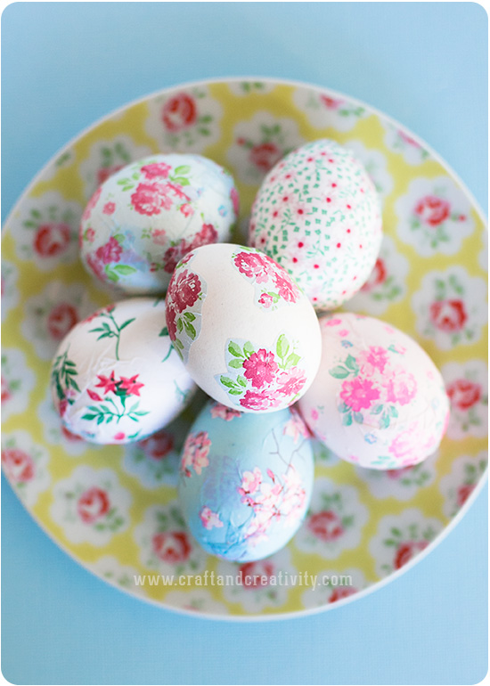 Blown Decoupage Easter Eggs