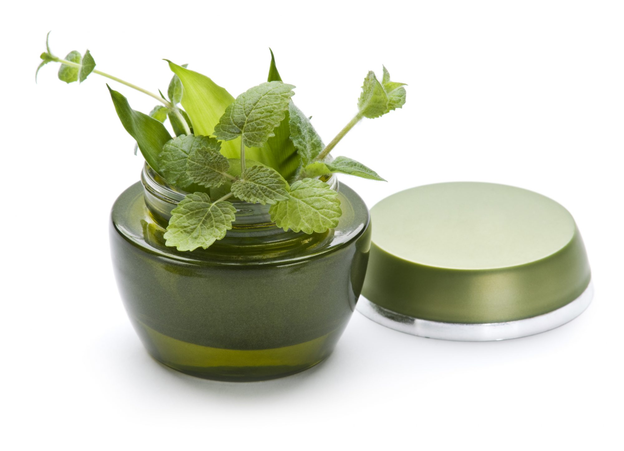 Fresh Herbs In Beauty Product Jar