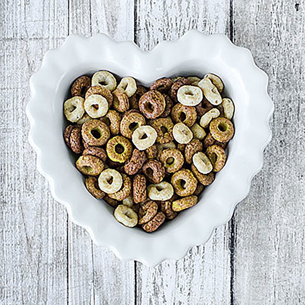 Heart-Shaped Bowl of Cheerios