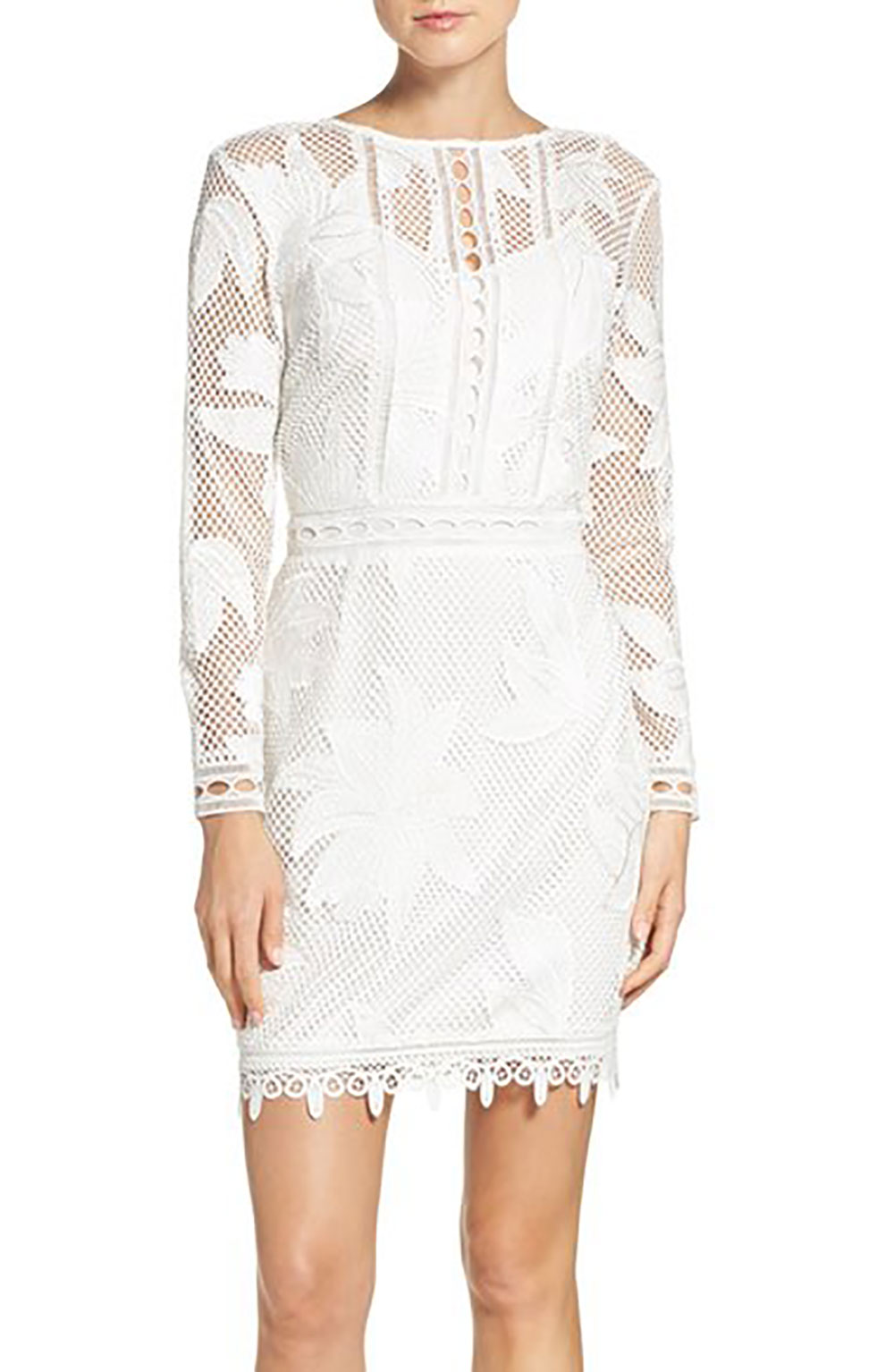 White Floral Lace Sheath Dress