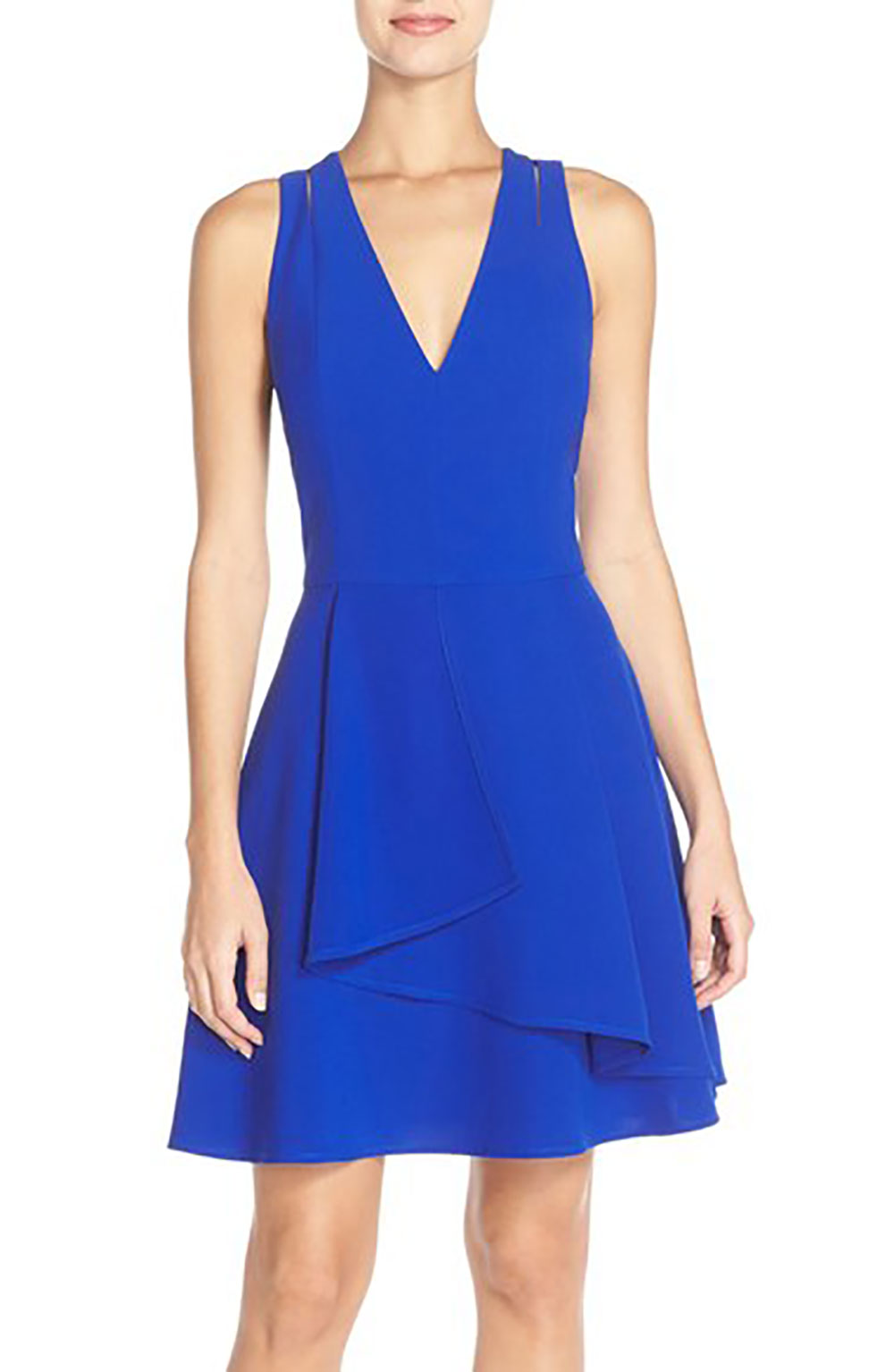 Adelyn Rae Asymmetrical Crepe Fit and Flare Dress