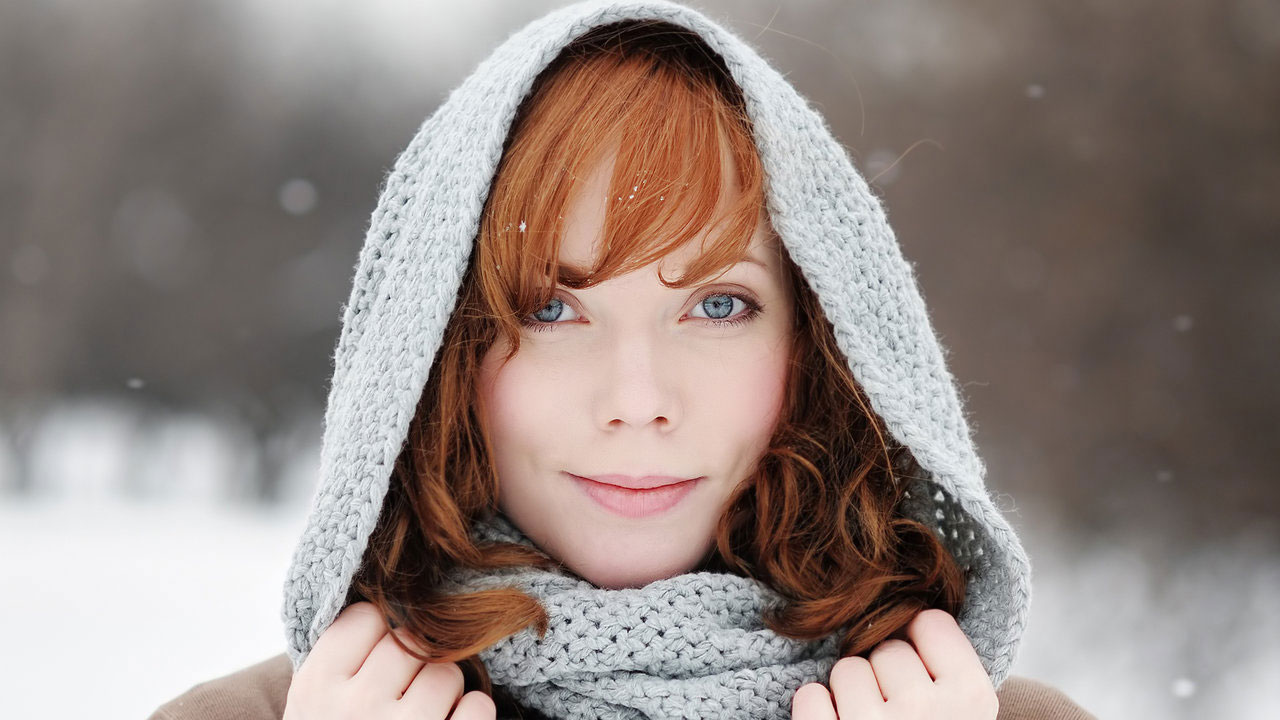Woman in Snow in Scarf