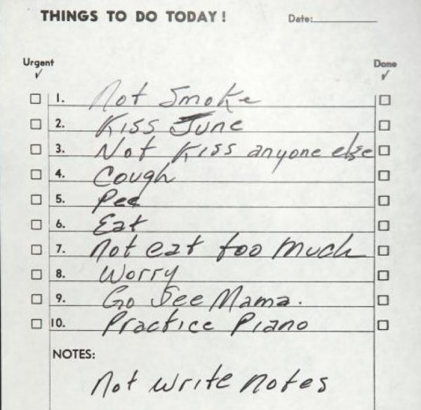 Johnny and June to do list