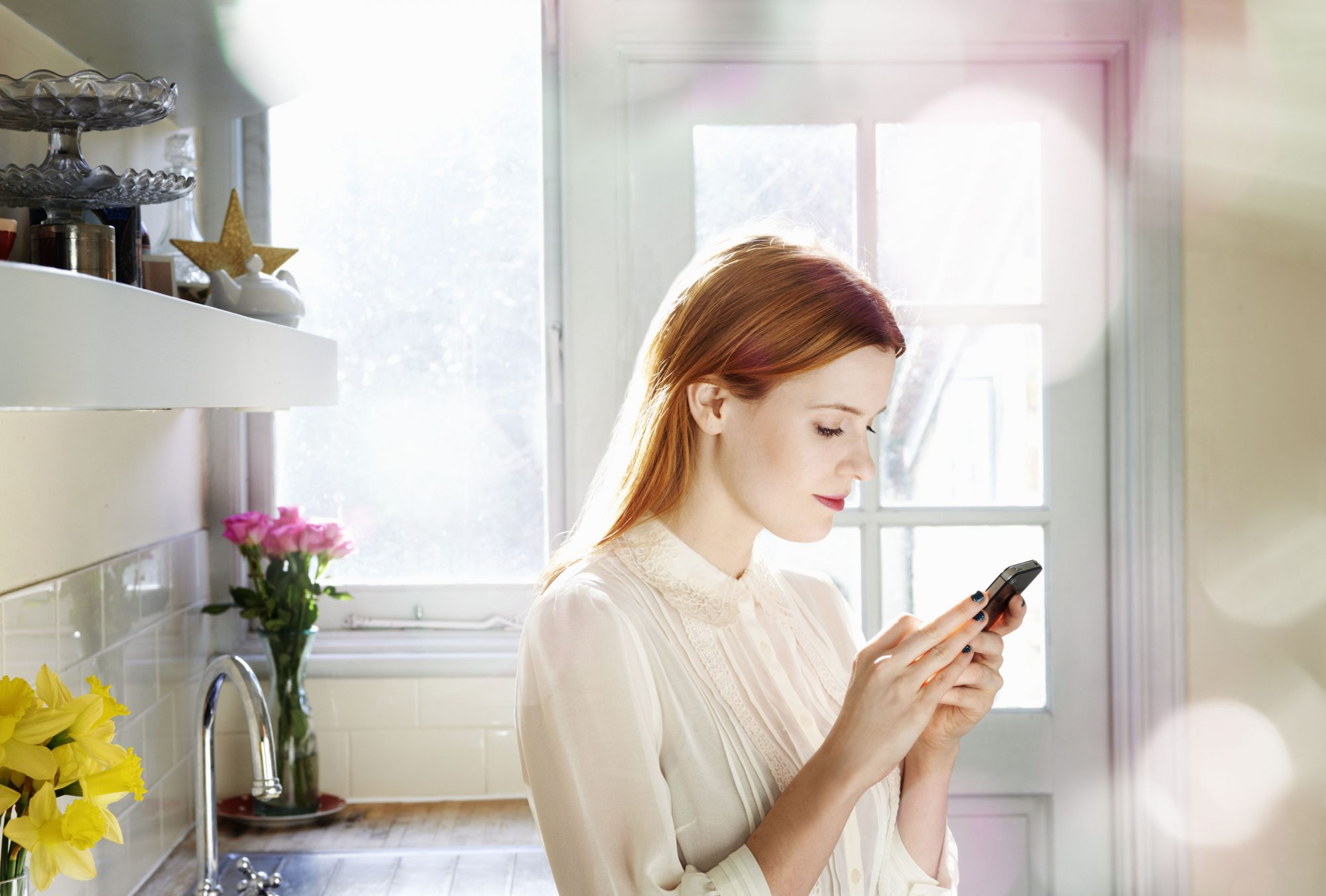 Woman Reading Text Messages
