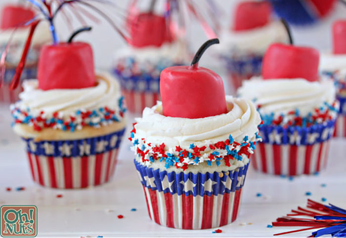 Patriotic Cupcakes with Red Candles