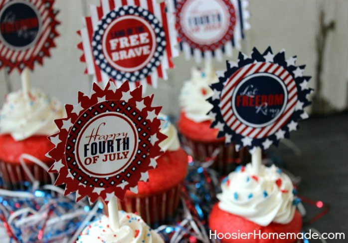 Red Velvet Cupcakes with Fourth of July Flags