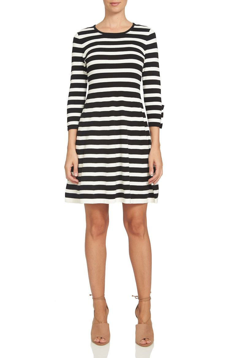 Bow Sleeve Stripe Dress